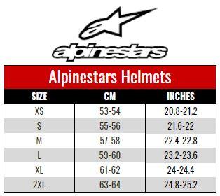 Alpinestars Helmets size chart