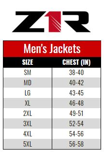 Z1R Jacket Men size chart