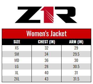 Z1R Jacket Women size chart