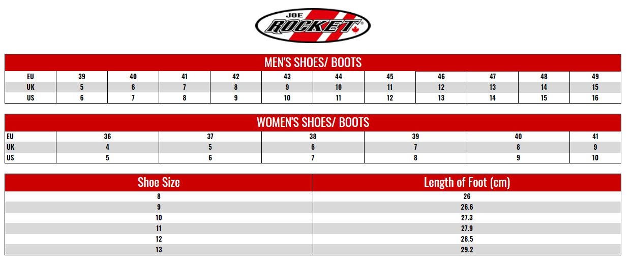 JOE ROCKET: SHOES AND BOOTS size chart