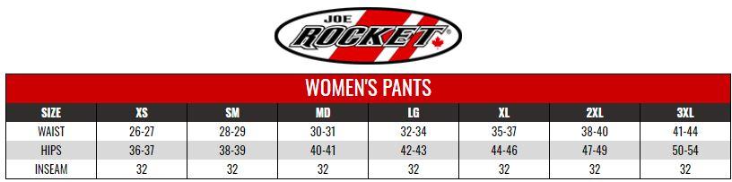 JOE ROCKET: WOMENS ALTER EGO PANTS size chart