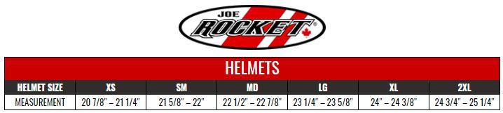 JOE ROCKET: HELMETS size chart