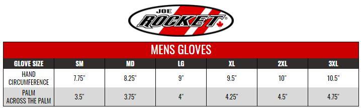 JOE ROCKET: MENS GLOVES size chart