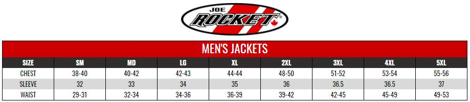 JOE ROCKET: MENS JACKETS size chart