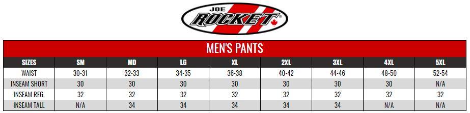 JOE ROCKET: MENS PANTS size chart