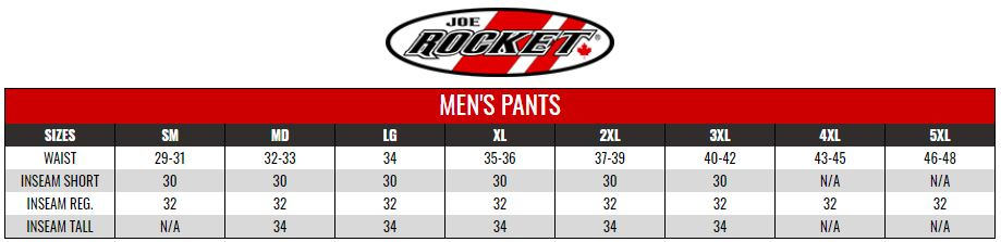 JOE ROCKET: MENS PHOENIX PANTS size chart
