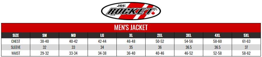 JOE ROCKET: MENS RIDING SHIRTS size chart