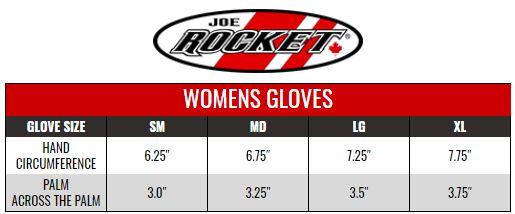 JOE ROCKET: WOMENS GLOVES size chart