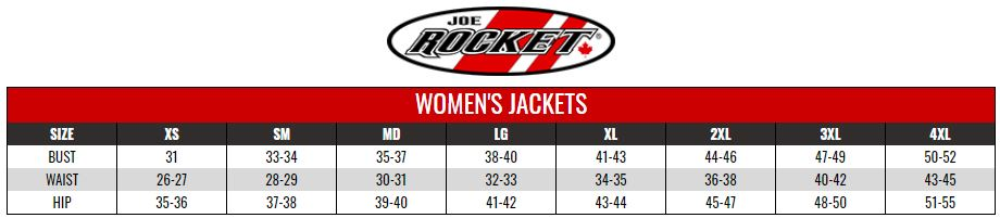 JOE ROCKET: WOMENS JACKETS size chart