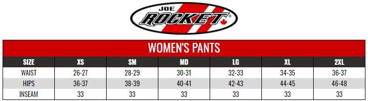 JOE ROCKET: WOMENS PANTS size chart