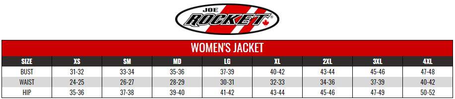 JOE ROCKET: WOMENS RIDING SHIRTS size chart