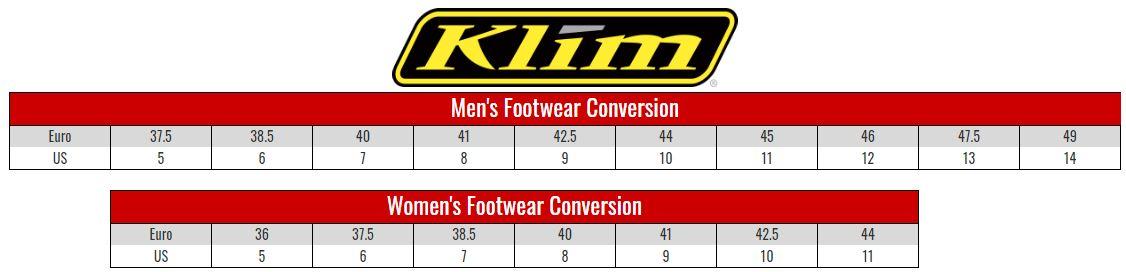 Klim Footwear size chart
