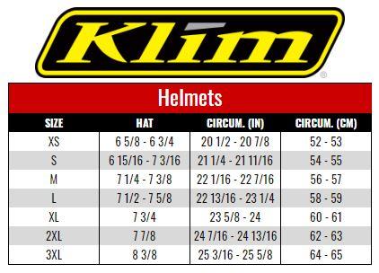 Klim Helmets size chart