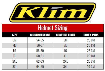 Klim Krios Helmets size chart