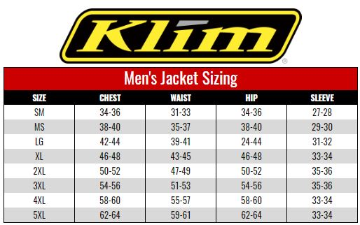 Klim Men's Jackets size chart