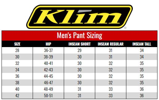 Klim Men's Pants size chart