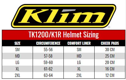 Klim TK1200/K1R Helmets size chart
