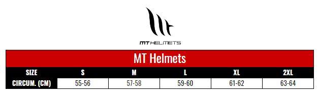 MT Helmets size chart