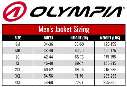 Olympia Men's Jacket size chart