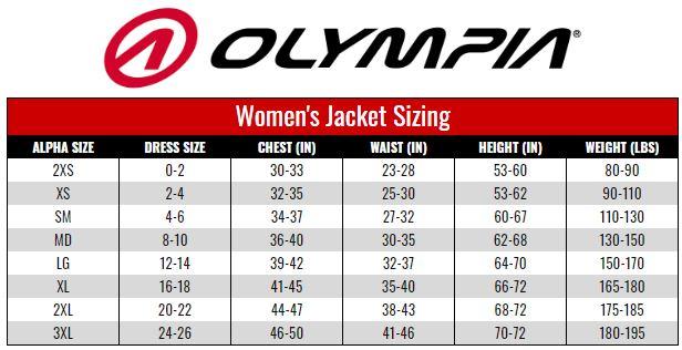 Olympia Women's Jacket size chart