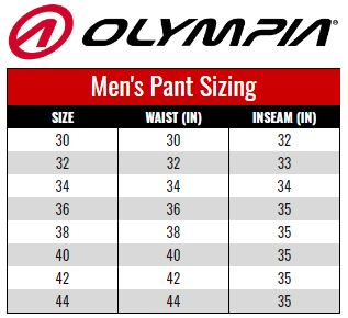 Olympia Men's Pants size chart