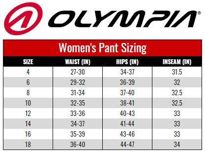 Olympia Women's Pants size chart