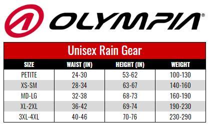 Olympia Unisex Rain Gear size chart