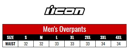 Icon Overpant Men size chart