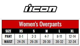 Icon Overpant Women size chart