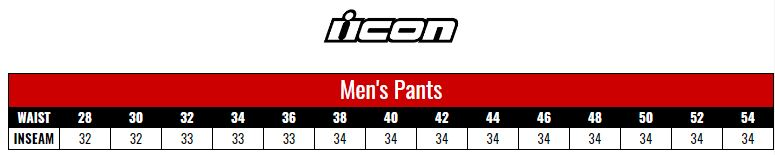 Icon Pants Men size chart