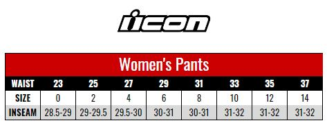 Icon Pants Women size chart