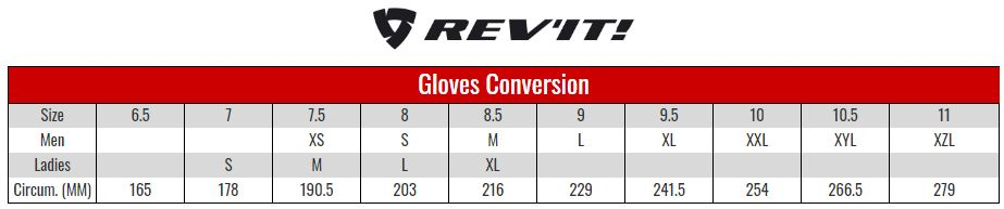 Rev'it Gloves size chart