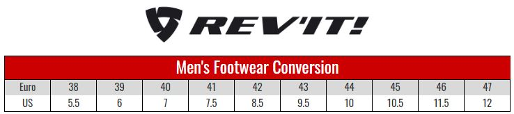 Rev'it Mens Boots size chart