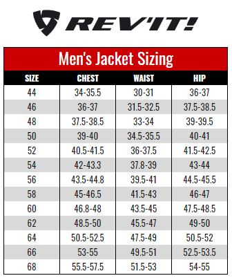 Rev'it Mens Jacket size chart