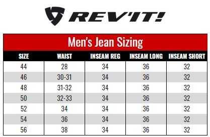 Rev'it Mens Jeans size chart