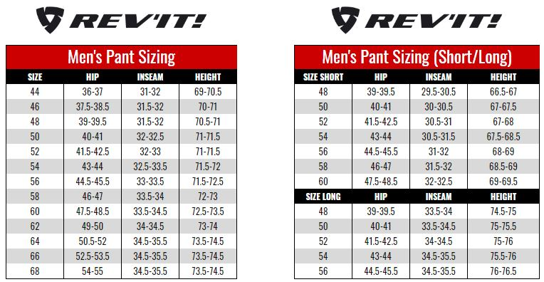 Rev'it Mens Pants size chart