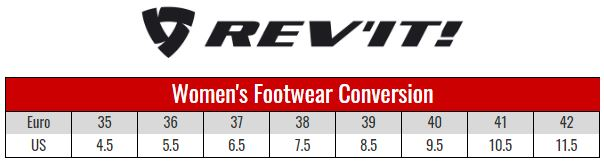 Rev'it Womens Boots size chart