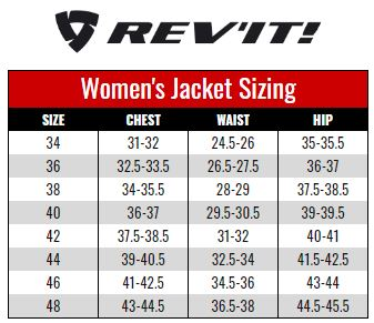 Rev'it Womens Jackets size chart