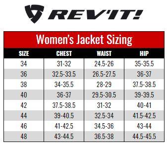 Rev'it Womens Jackets size chart