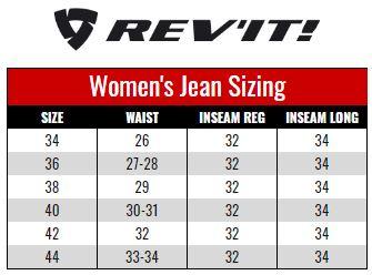 Rev'it Womens Jeans size chart