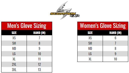 Scorpion Exo Gloves size chart