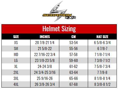 Scorpion Exo Helmets size chart