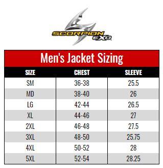 Scorpion Exo Men's Jacket size chart
