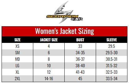 Scorpion Exo Women's Jacket size chart