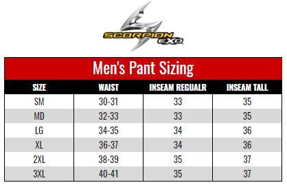 Scorpion Exo Men's Pants size chart