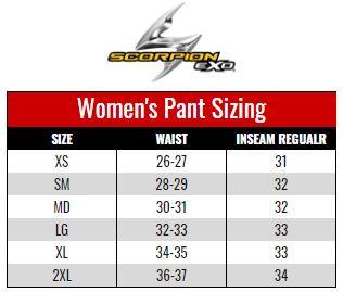 Scorpion Exo Women's Pants size chart