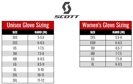 Scott Gloves size chart