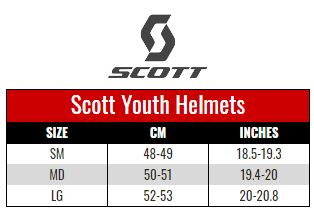 Scott Youth Helmets size chart