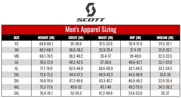 Scott Men's Apparel size chart