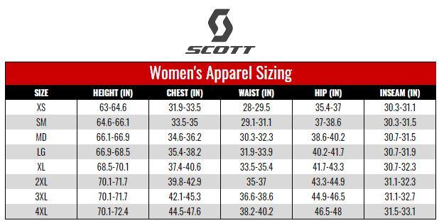 Scott Women's Apparel size chart